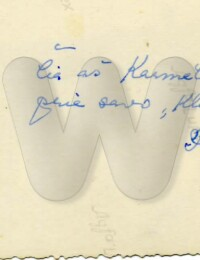 Handwriting of Kunigas Kazėnas on the back of a photo