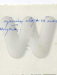Handwriting of Kunigas Kazėnas on the back of a photo